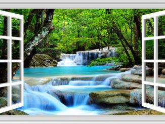 Tranh cửa sổ thác nước