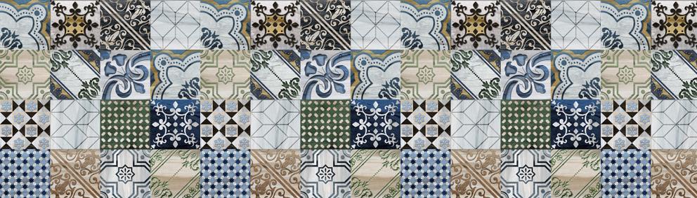 Kính ốp bếp vân mosaic